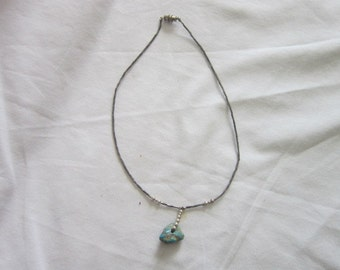 Native American Sterling Silver & Turquoise Necklace Choker Antique