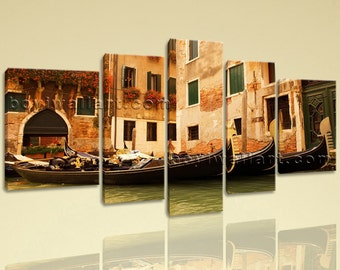 Extra Large Venice Gondola Ride Landscape Wall Art Print On Canvas Home Decor, Extra Large Venice Wall Art, Living Room, Brown Bramble