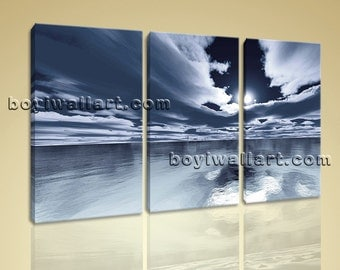 Large Seascape Hd Print Contemporary Beach Wall Art Bedroom Three Panels Prints, Large Beach Wall Art, Bedroom,