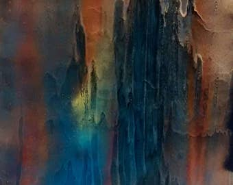 16x20 inch Amazonite #2 Abstract Art Spiritual Painting On Stretched Canvas Energy Art Spray Paint Healing Energy 40x50 centimeters