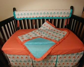 Baby Bedding Coral Teal Gold Arrows