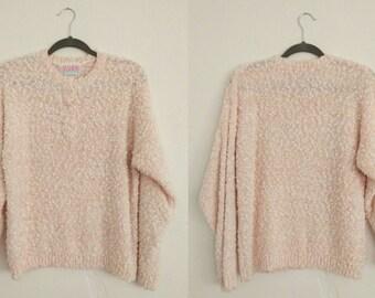 Fashion Force Sweater (Medium). Pink Sweater. Knit Sweater. Vintage Sweater.