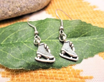 LITTLE ICE SKATE earrings - surgical stainless steel ear wires - hypoallergenic, sensitive ears earring wires