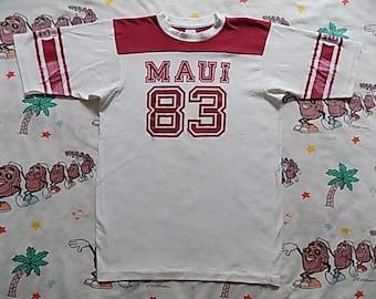 Vintage 80's MAUI 83 Jersey T shirt, size Medium souvenir super soft and thin Hawaii