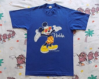 Vintage 80's Mickey Mouse Florida T shirt, size S/XS by Velva Sheen Disney soft and thin