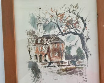 John Haymson Litho print of the Capitol in Williamsburg Va