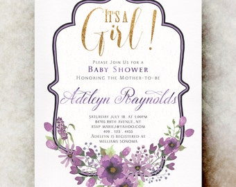 Gold purple Baby shower invitation girl printable, baby shower invitation girl, unique baby shower invitations, baby girl shower invitation