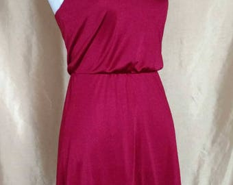 70's Disco Vintage Red Strappy Dress with Slit