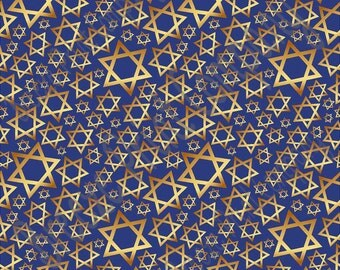Star of David navy and gold pattern craft  vinyl sheet - HTV or Adhesive Vinyl -  Hanukkah HTV4401