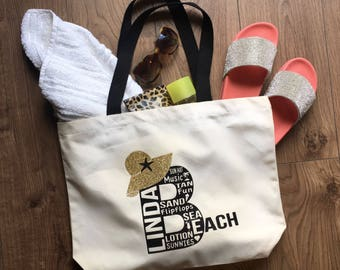 Personalised Beach Bag, Typography, Personalised bag, Beach Tote, Canvas Bag, Gift for her, Holiday tote, Holiday Bag