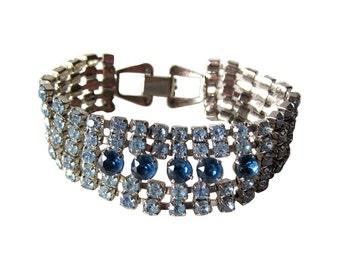 Blue Rhinestone Cuff Bracelet - Costume Jewelry Bracelet - Prom Jewelry - Blue Bracelet