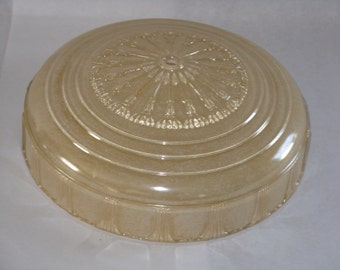 Vintage antique glass light fixture ceiling round aged ivory yellowed chrome
