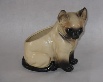 Vintage ceramic Siamese cat planter Brinn's made in Japan