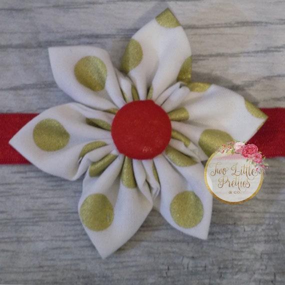 Large Gold Polka Dot Fabric Flower Headband | Baby Girl | Hand Sewn