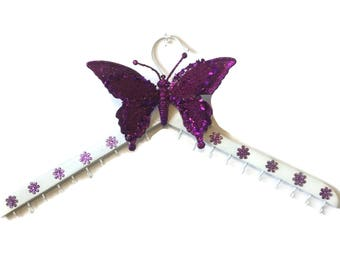 Jewelry Organizers - Wall Mount Wood Hanger  With Hooks For Necklaces - Butterflies For Bedroom Decorations - Wooden Jewelery Wall Display