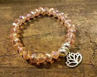 Crystal Bracelet, Peach Bracelet, Stretch Bracelet