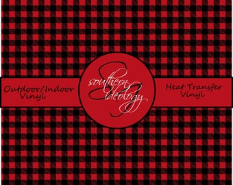Red Buffalo Plaid  Printed Vinyl, Red Buffalo Plaid Patterned Vinyl and Heat Transfer Vinyl // Pattern 509