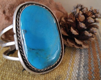Price Reduced!  Sterling Silver & MASSIVE Kingman Mine High Grade TUQUOISE Navajo Authentic CUFF Bracelet - Very Large Stone, Signed