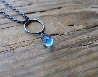 Blue topaz necklace. Blue topaz necklace and oxidized sterling silver. Artisan Blue topaz necklace.