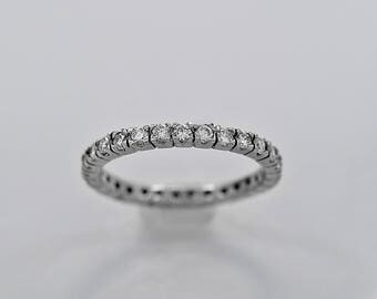 Estate Wedding Band .75ct. T.W. Diamond & 18K White Gold - J35972