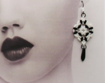 Earrings,Black and White Beaded with Drop Dagger, Titanium Earwires