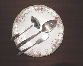 Romance Silver Plate Slotted Serving Spoon, Butter Knife and Ladle Iris Holmes Edwards Silverplate Circa 1950s