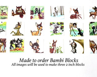 Bambi - Wooden Baby Blocks - Baby Shower Gift - Table Centerpieces - All Paper Shown Will Be Used On Blocks - 2 Inch