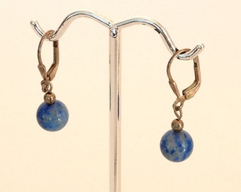 Larimar Blue 8 mm Pierced Dangle Earrings 925 Sterling Silver gw15-898