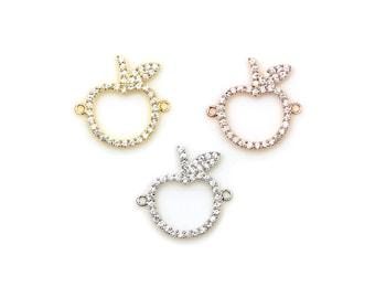 Sterling Silver CZ Apple Bracelet Charm