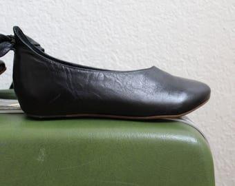 Kooba Tie-up shoe, black ballet flats, size 5 1/2M, women leather shoe, chic style, alexa chung