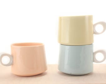 slip-cast porcelain asymmetrical mug