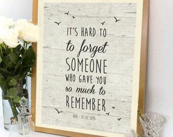 Bereavement Gifts Custom Poem Print Sympathy Funeral Bereavment