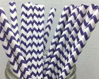 25 count Paper Straws - Purple Chevron