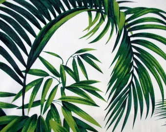 Fabric, Large Tropical Leaves on Ivory, Hoffman California, Palm Fronds, By The Yard