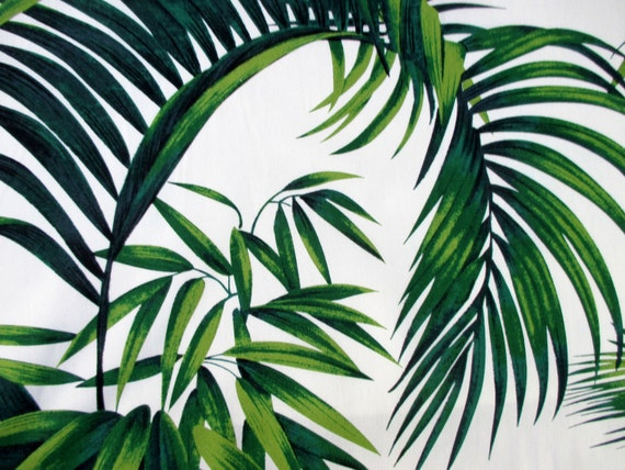 Fabric Large Tropical Leaves On Ivory Hoffman California