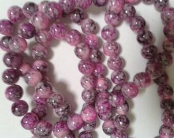 mottled glass beads, beads, glass beads, 8mm glass beads, uk seller, bead supplies, jewellery supplies, round beads, purple beads, jewellery