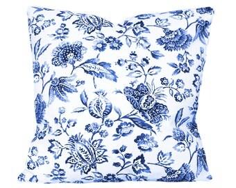 Braemore Blue Floral Decorative Pillow Cover - Throw Pillow - Both Sides - 10x20, 12x16, 12x20, 14x18, 14x20, 14x24, 16x16, 18x18, 20x20