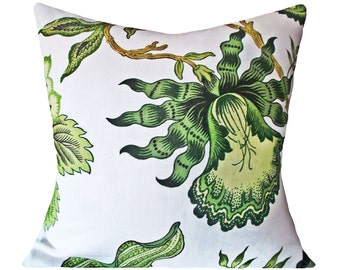 Schumacher Hothouse Flowers Verdance Decorative Pillow Cover - Celerie Kemble - Throw Pillow - Accent Pillow - Solid Linen Back