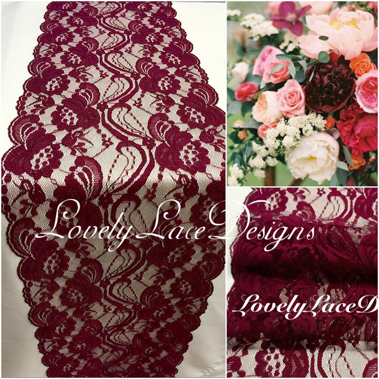 Burgundy Weddings/ Burgundy Lace Table Runner/3ft-10ft Long X