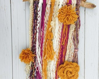 Gold & Purple Yarn Wall Art