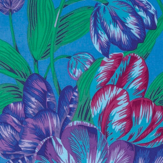 TULIP EXTRAVAGANZA Blue PWPJ089 Philip Jacobs for Kaffe Fassett Collective Sold in 1/2 yd increments