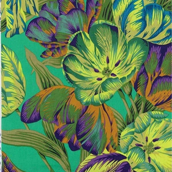 TULIP EXTRAVAGANZA Green PWPJ089 Philip Jacobs Sold in 1/2 yard increments