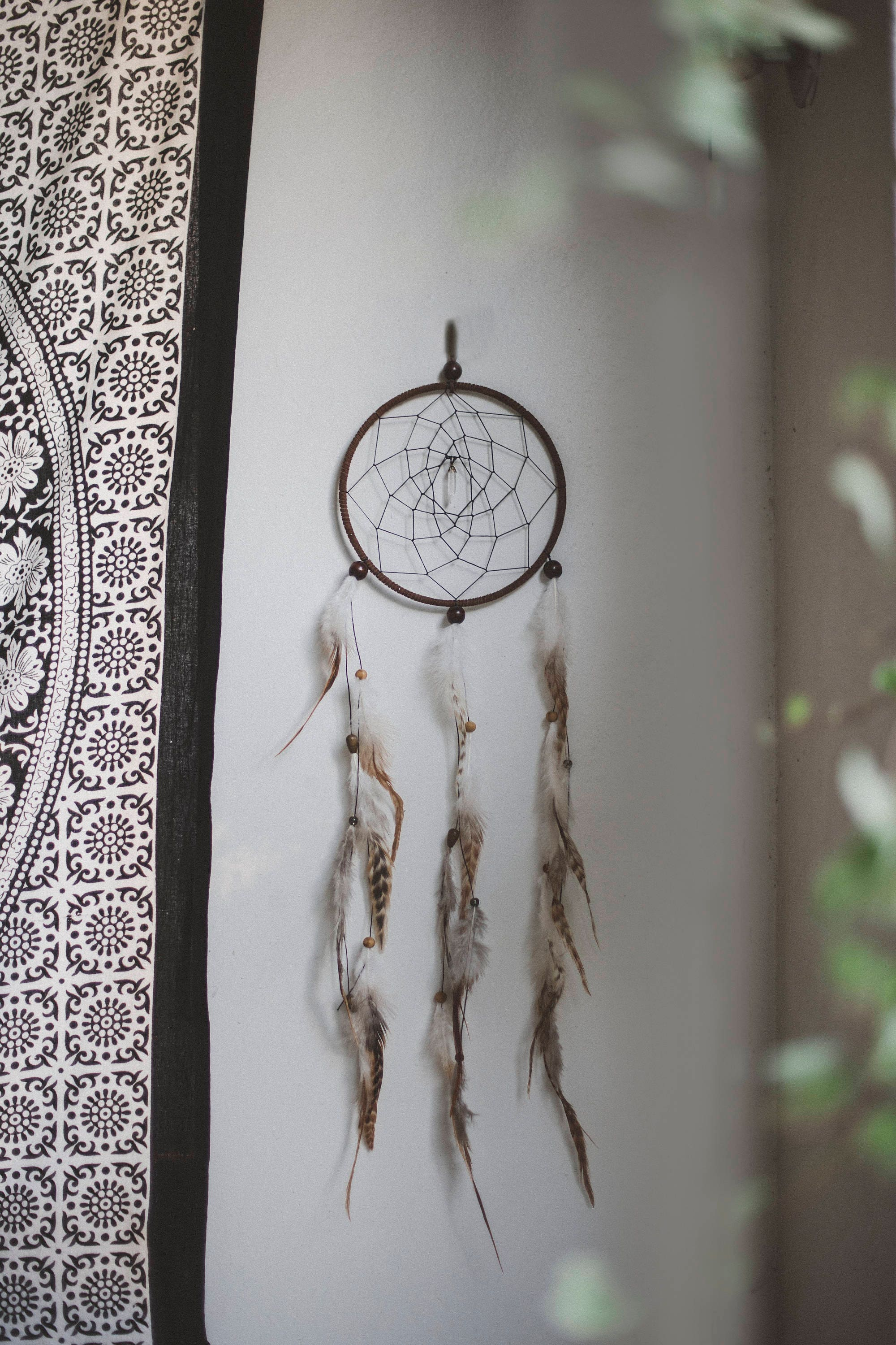 large feather dreamcatcher crystal webbed long home decor