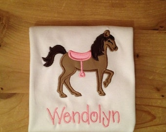 Pink and Brown Horse Cowgirl Embroidered Shirt or Baby Bodysuit