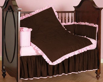 Solid Pattern Baby Crib Reversible Ruffle Bumper