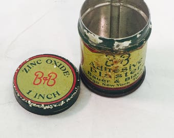 Antique Bauer & Black Zinc Oxide Adhesive Plaster Advertising Tin Can