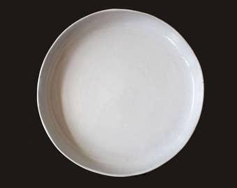 "15"" Large Rustic Shallow Serving Bowl, Handmade Stoneware Serving Bowl, Ceramic Centerpiece, Shabby Chic Ceramic Bowl"