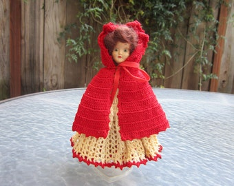 Vintage 7 inch Little Red Riding Hood doll with sleepy eyes - Midcentury
