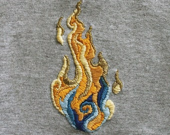 Hand-embroidered T-shirt Flame