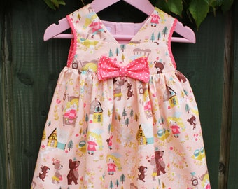 Baby Girl Goldilocks Summer Dress, Girl's 1st Birthday Dress, Goldilocks and the Three Bears, Baby Gift